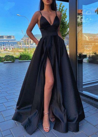 Annaprom Spaghetti Straps A Line Burgundy V-neck Prom Dresses With Split AN0031
