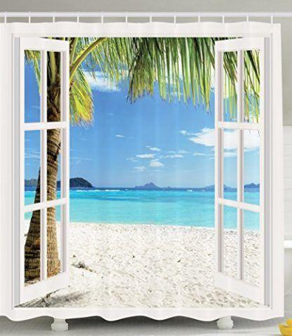 Ambesonne S Tropical Beach Shower Curtain Shower Curtain Decor