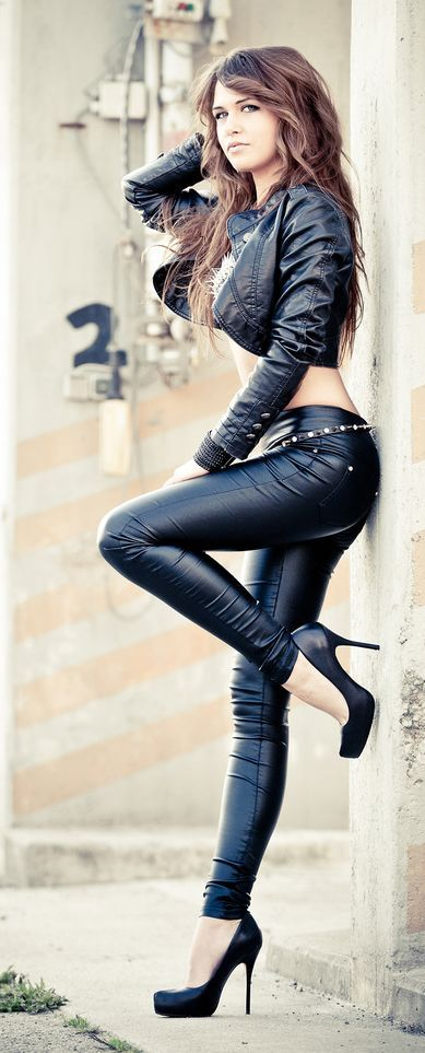 nude woman leather pants