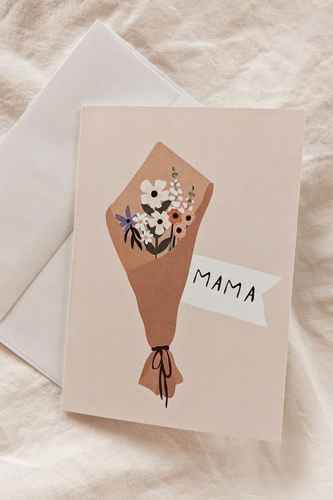 Mother's day greeting cards - flower bouquet for the best mom recycled paper by Mimi & August Mom Cards, Bday Cards, Mothers Day Cards, Happy Birthday Cards, Birthday Greeting Cards, Cute Cards, Diy Birthday Cards For Mom, Creative Birthday Cards, Handmade Birthday Gifts