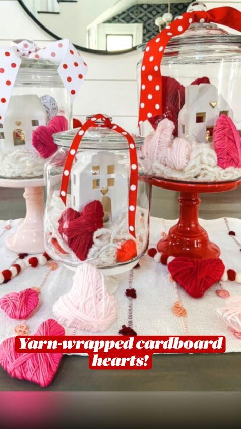 Yarn-wrapped cardboard hearts!