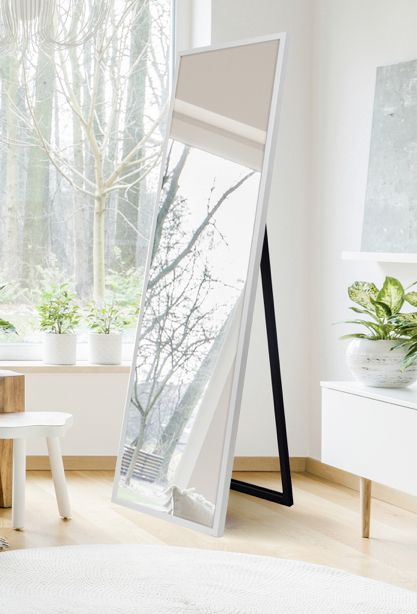 Bedroom Decor, White Floor Mirror With Easel