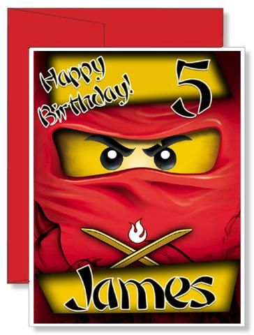 Personalized Birthday Greeting Card Lego Ninjago Birthday Greeting Cards Birthday Greetings Lego Ninjago Birthday