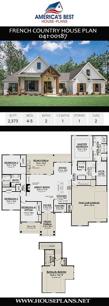 House Plan 041-00187 - French Country Plan: 2,373 Square Feet, 4-5 Bedrooms, 2.5 Bathrooms