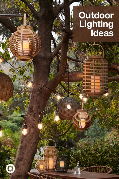 Brighten up your backyard or patio with outdoor lighting ideas, pendant lights, lanterns, string lights  deck lights to set the scene.