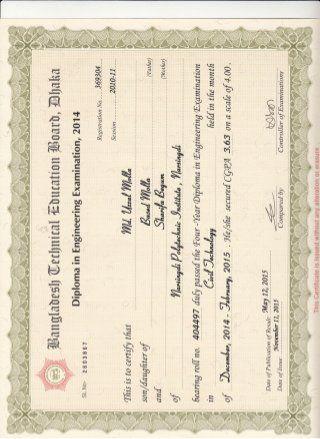 Certificate Of Diploma In Engineering Diploma In Engineering Diploma Certificate Design