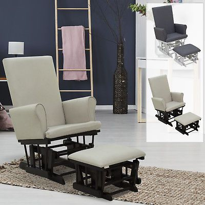 Astonishing Chairs 54235 Glider Rocking Chair With Ottoman Set Linen Pdpeps Interior Chair Design Pdpepsorg