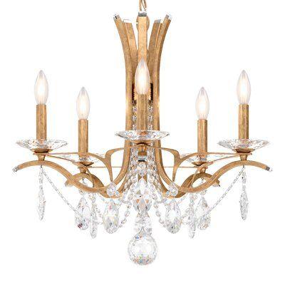 Schonbek Vesca 5 Light Chandelier Crystal Clear Heritage Crystal