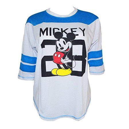 Mickey Mouse Vintage Jersey Styled Juniors 3 4 Sleeve Tee Shirt White Small W75 Mickeymouse Jersey Style Juniors Sleeves Tees Vintage Jerseys Shirts