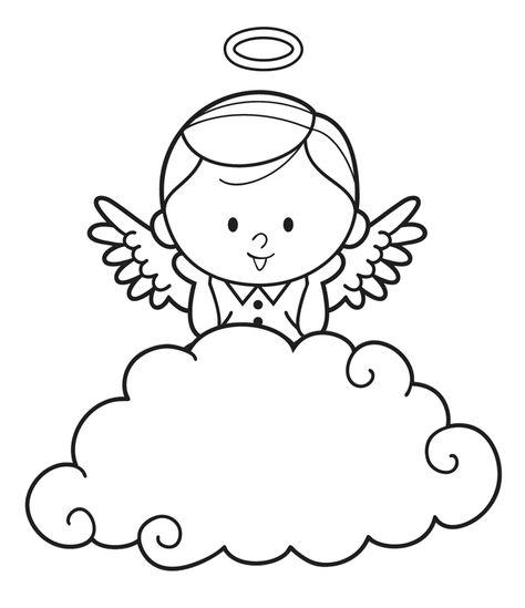Ausmalbild Engel Engel Hinter Einer Wolke Kostenlos Ausdrucken