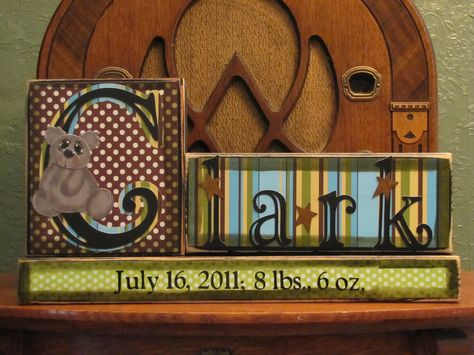 Customized Child's Name Birth Announcement Blocks Sign for Boys Nursery and Room Decor. $29.00, via Etsy.