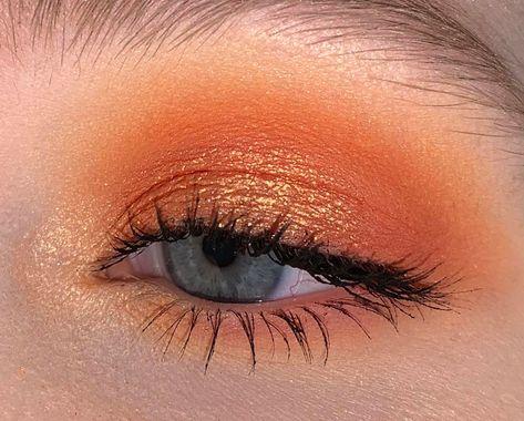 Orange for the SF Giants yesterday! Orange Eyeshadow Looks, Orange Eye Makeup, Eyeshadow For Blue Eyes, Yellow Makeup, Red Makeup, Makeup For Green Eyes, Skin Makeup, Eyeshadow Makeup, Makeup Style