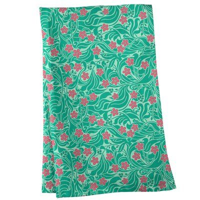 East Urban Home Swirly Floral Pattern Tea Towel Colour Mint Pink