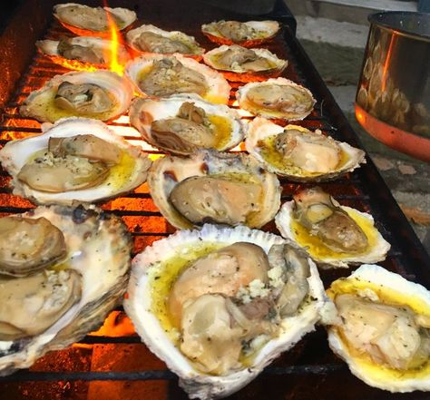 Easy Grilled Oysters on the Half Shell Fresh grilled oysters done the easy way: on the grill. This recipe reveals the secret of opening oysters the easy way. Add bread to mop up the sauce!