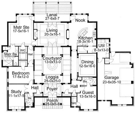 Plan 16813wg Center Courtyard Beauty In 2020 Courtyard House Plans Spanish Style Homes Spanish Style