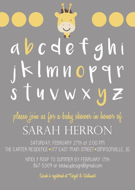 Invite your guests with this adorable Giraffe Alphabet (ABC) Baby Boy - Baby Shower invitation! This is a Flat 5x7 Vertical Baby Shower Invitation by LoloLucy on Etsy https://www.etsy.com/shop/lololucy
