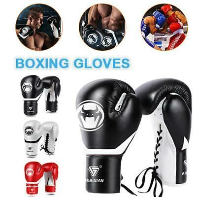 16 OZ BOXING PRACTICE TRAINING GLOVES MMA Sparring Punching Faux Leather Red