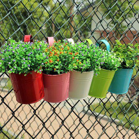 10PCS Metal Flower Pot Hanging Balcony Garden Fence Plant Planter Wall Decor ~UK