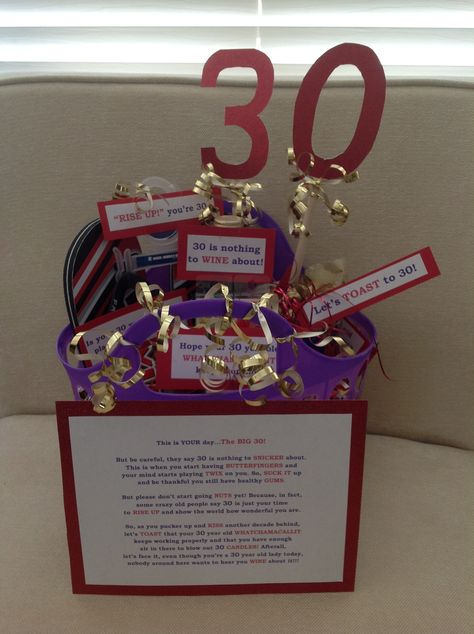 30th Birthday Gift Basket Easy Diy And So Fun