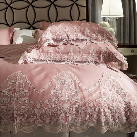 Luxury Cassandra Embroidery Pink Duvet Cover Sets Bedding /& Curtain /& Cushion✅