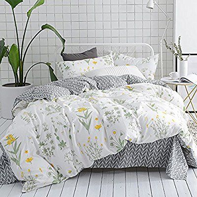 Amazon Com Clothknow Botanical Floral Duvet Cover Sets Full Queen Bedding Sets White Yellow Flower Branc Full Bedding Sets Duvet Cover Sets Marble Duvet Cover