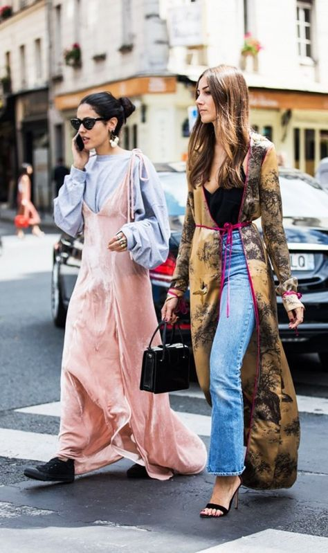 A velvet maxi dress gets a daytime spin thanks to a casual top underneath.