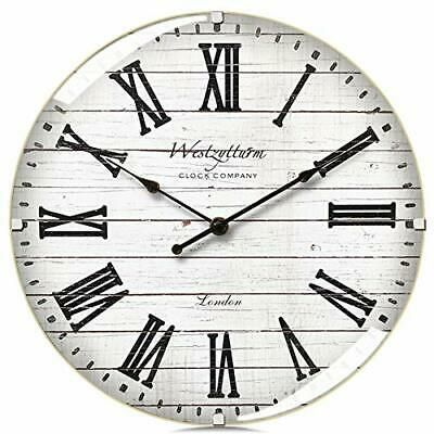Westzytturm Wood Wall Clock 12 Inches Luxury Curved Glass Roman 12 Inch White Fashion Home Garden Home Rustic Wall Clocks Wood Wall Clock White Wall Clocks