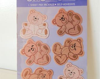 Mint Condition!! Sheet of Vintage Stickers Hallmark Adorable Teddy Bears