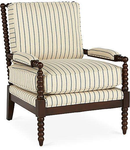 Bankwood Accent Chair Blue Stripe Miles Talbott Accent Chairs Blue Accent Chairs Striped Furniture