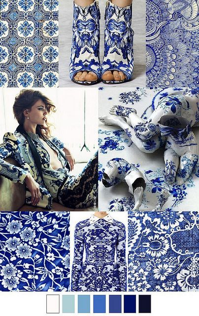 S/S 2016 trend: China Blue. And blue, from light dusky blue through royal and navy and every shade of denim imaginable, even in patchwork jeans items. Of course we also see nautical stripes a lot.