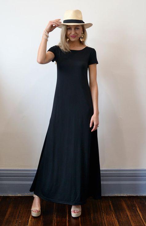 c99c0a12137dc4 SMITTEN MERINO - V-Neck Maxi Wool Dress (BLACK) $289 Made in Tasmania,  Australia | Women's Fashion - Merino Wool & Organic Cotton | Pinterest | Merino  wool, ...