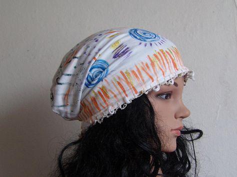 82eb50de7c8 Women Slouchy Hand Painted Cotton Hat