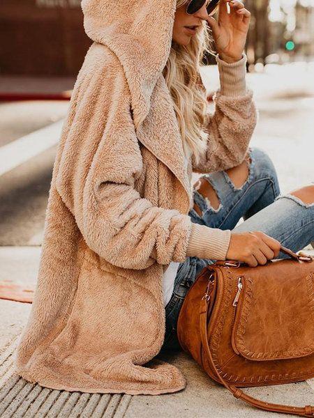 TONSEE Women Fluffy Coat Winter Jacket Cardigan Pocket Hooded Overcoat Outwear Jumper