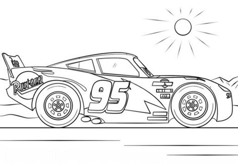 Lightning Mcqueen From Cars 3 Coloring Page From Disney Cars