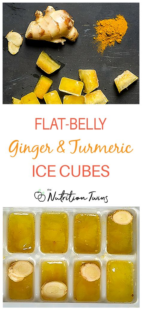 Ginger Turmeric Flat Belly Ice Cubes | Easy way to add anti-bloat  belly fat burning benefits to smoothies, stir-fries, water and more |Easy to make healthy beverage | Add to your water bottle and drink during Flat Belly Workout, | These double as an anti-inflammatory diet food to boost immunity | For MORE RECIPES, Fitness  Nutrition Tips please SIGN UP for our FREE NEWSLETTER www.NutritionTwins.com