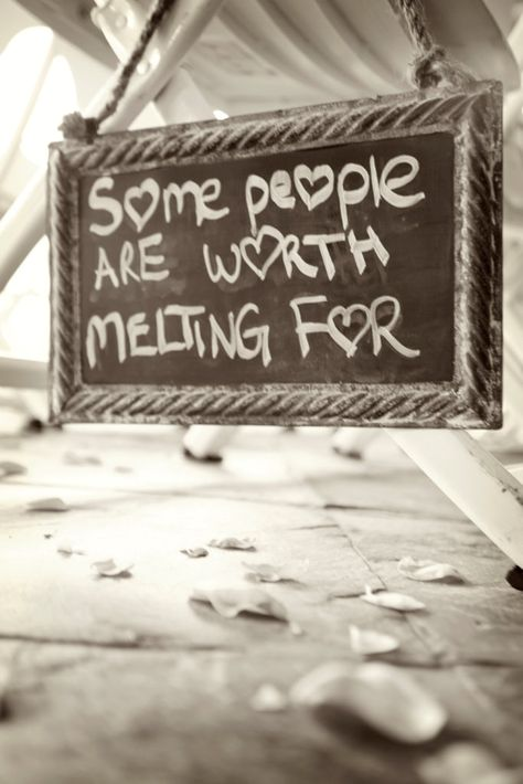 """""""Some people are worth melting for"""" sign from a Disney wedding ... aww, Frozen!"""