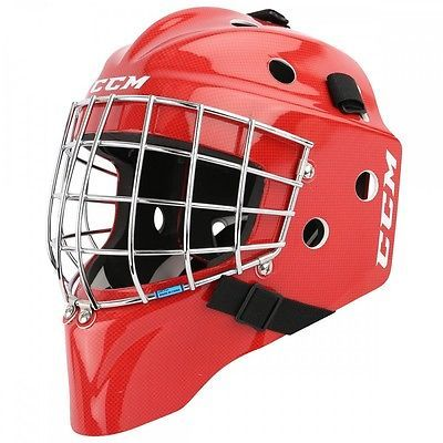 Details About New Ccm 7000 Yth Goalie Face Mask Size Youth Red Carbon Ice Hockey Goal Helmet