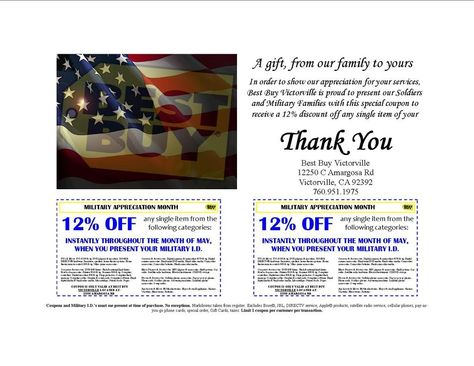 Best Buy Military Discount >> Military Appreciation Month Special Coupon 12 Off Discount