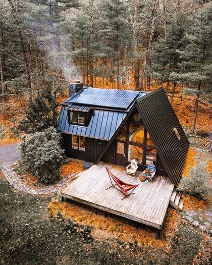 Coziest A Frame Airbnb Cabins To Rent This Fall Conde Nast Traveler Forest House House In The Woods House Exterior