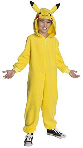 Pokemon Deluxe Pikachu Child Yellow Jumpsuit Halloween Fancy Dress Costume