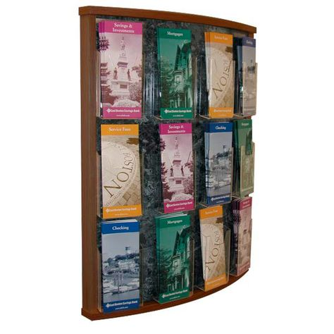 12 Pocket Oak Brochure Holder With Images Brochure Holders Brochure