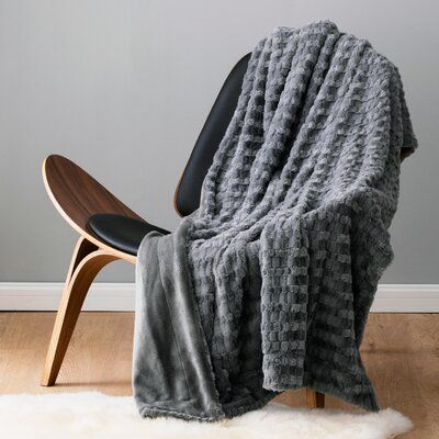 Mercer41 Villani Super Soft Luxury Faux Fur Throw Color: Gray, Size: Twin
