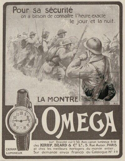 Omega Wristwatch Advertisement 1915 Trech Officerswatch Wwi Publicite Montre Omega Montre