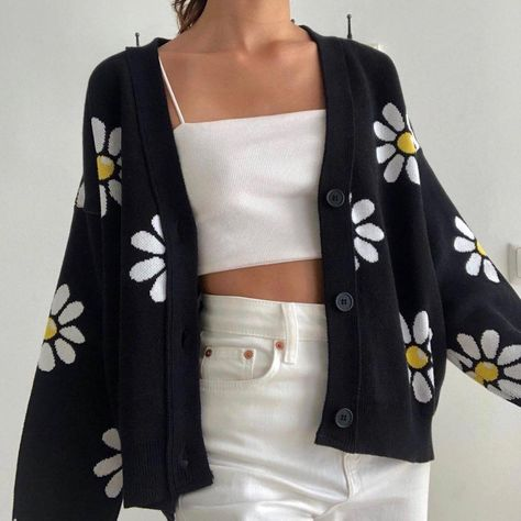 Aesthetic Fashion Trending - Aesthetic Vintage Daisy Knitted Sweater