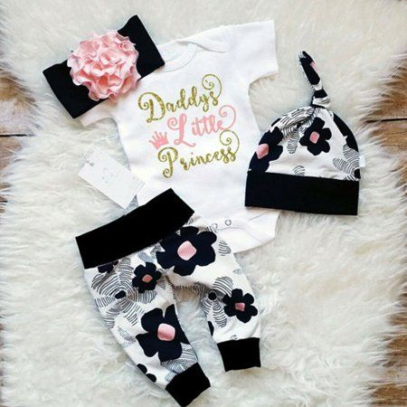 Newborn Baby Girl Clothes Floral Bodysuit Romper Hat Pant Headband Outfits