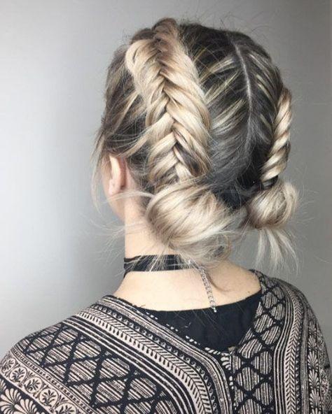 Braided Double Buns By Lauren Boucher Braids For Short Hair Short Hair Updo Hair Styles