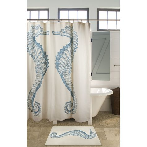 Seahorse Cotton Single Shower Curtain Modern Shower Curtains