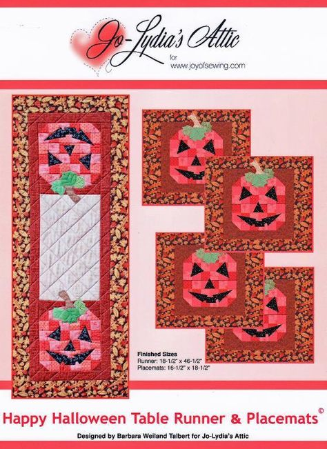 These happy jacks make the perfect placemats and runner to decorate for harvest holidays. Get the PDF download at www.craftsy.com