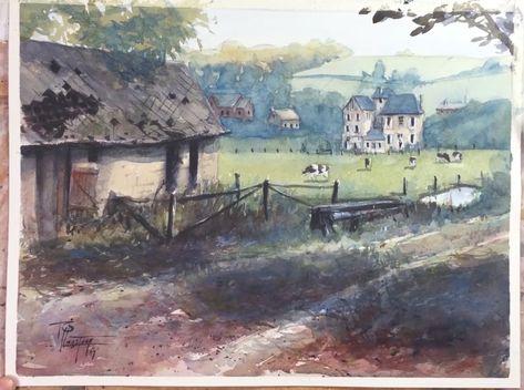 Simple Watercolor Landscape Painting Video