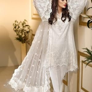 Ethnic Pakistani salwar kameez organza chiffon net embroidered dress made  on custom order Clothing Women's Clothing valresa.com